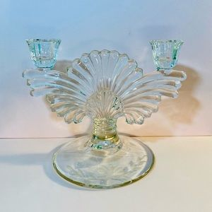 Vintage Art Nouveau Glass Double Arm Candle Holder
